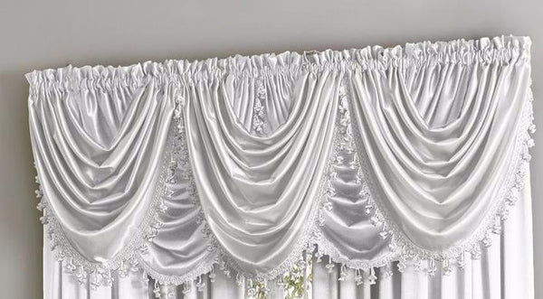 Hilton Rod Pocket Panel/Waterfall Valance - Waterfall Valance White 055x037 C34922- Marburn Curtains