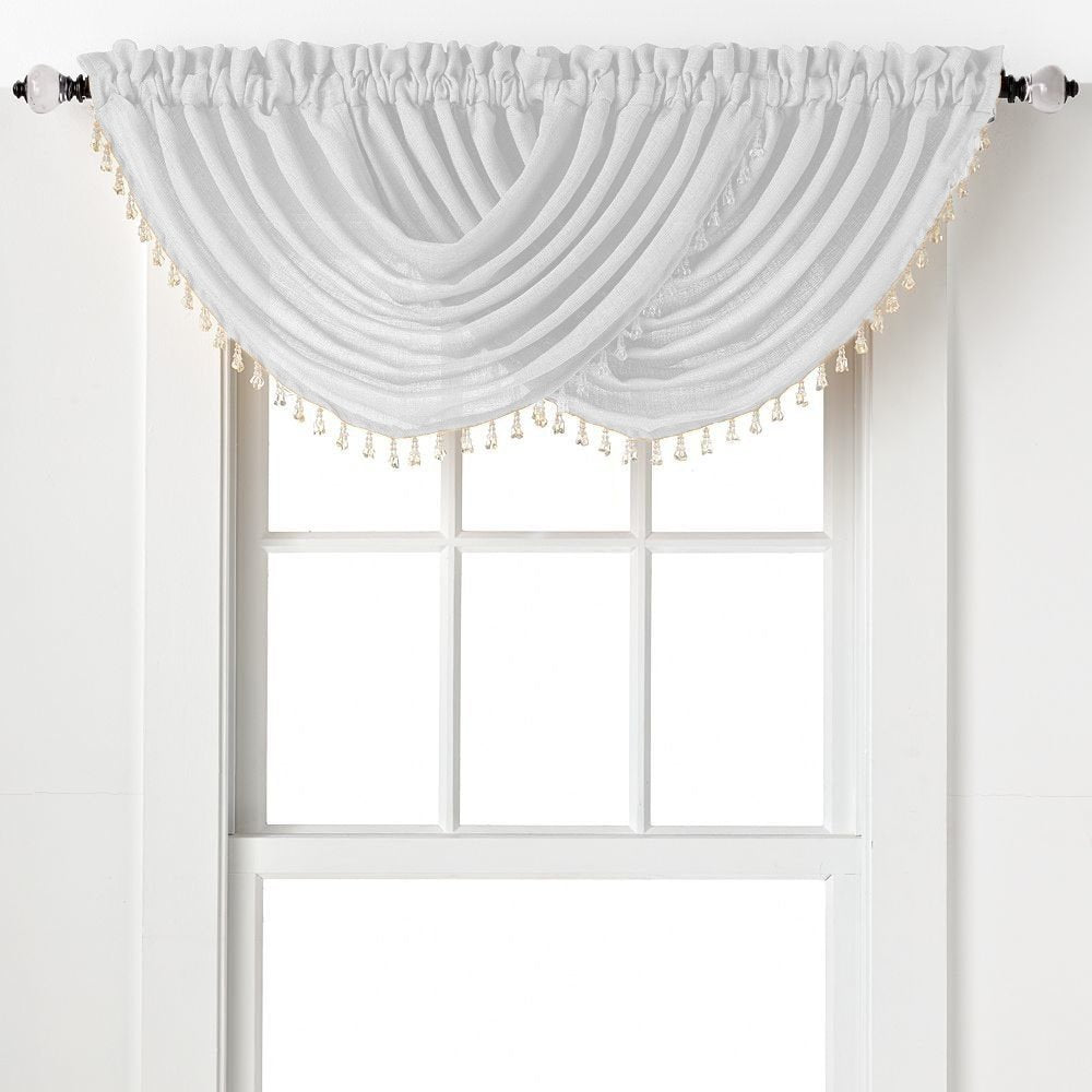 Emerald Crepe Waterfall Valance w/Beads