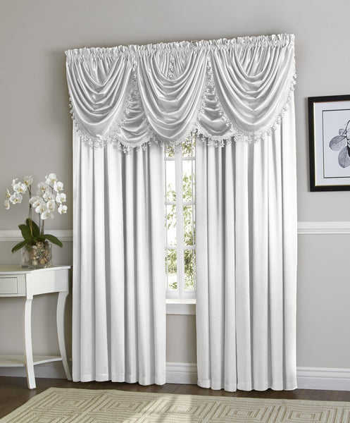 Hilton Rod Pocket Panel/Waterfall Valance - Panel White 054x084 C34920- Marburn Curtains