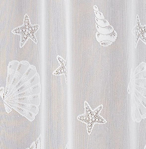 Seashell Lace Fabric Shower Curtain - 072x072 White C22572- Marburn Curtains
