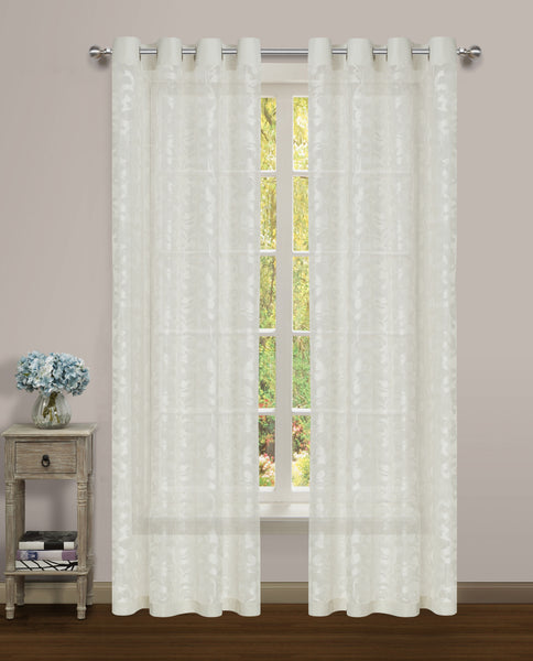 Luciana Semi-Sheer Grommet Panel - 052x084 White-White C43466- Marburn Curtains