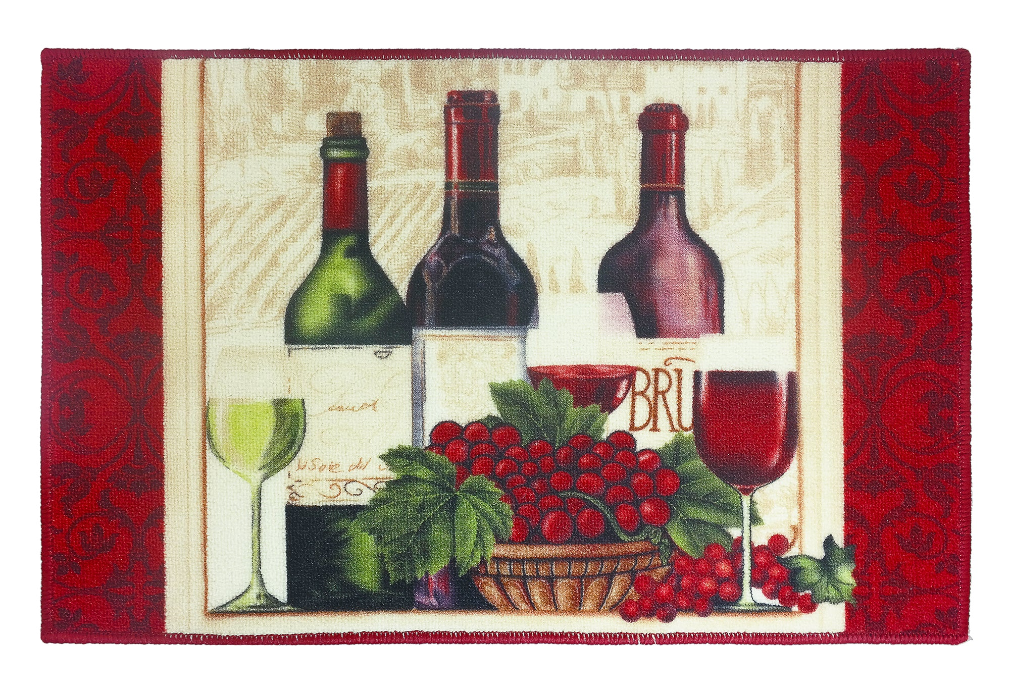 "Wine Kitchen Rug 18""x 30"" - Style A C41406- Marburn Curtains"