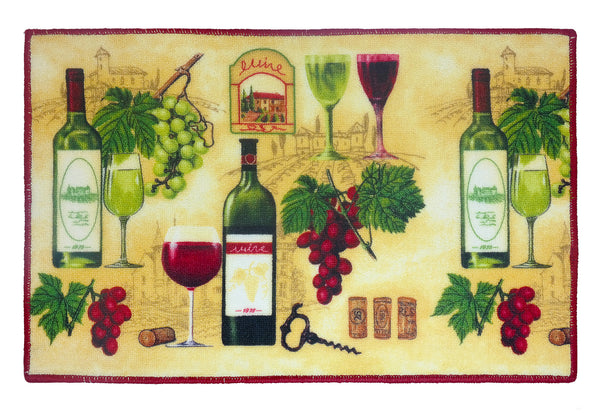 "Wine Kitchen Rug 18""x 30"" - Style B C40630- Marburn Curtains"