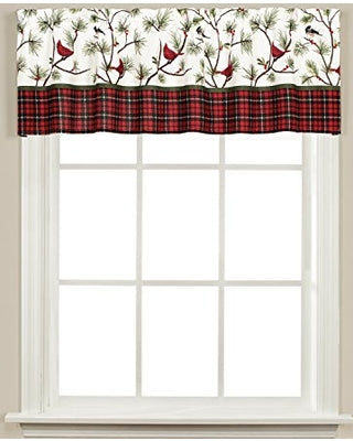 Winter Birds Holiday Plaid Trimmed Valance