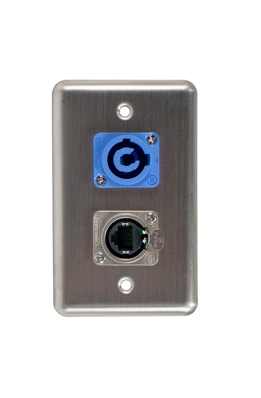 OSP D-2-1E1PCA Duplex Wall Plate w/ 1 Tactical Eternet and 1 Powercon A