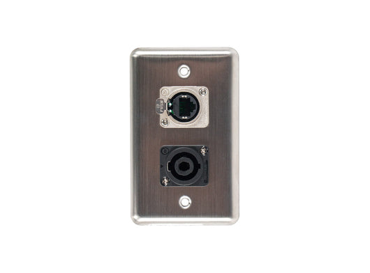 OSP D-2-1E1SP Duplex Wall Plate w/ 1 Tactical Ethernet and 1 Speakon
