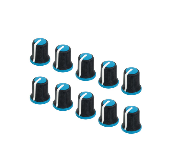 Lot of 10 Neutrik Rean Soft Touch Knob Push Fit P300-S-096-D6-S Black/White/Blue