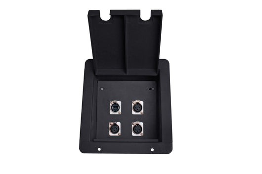 Elite Core FB4 Recessed Floor Box with 3 XLRF + 1 Ethernet Pass-Through Jack