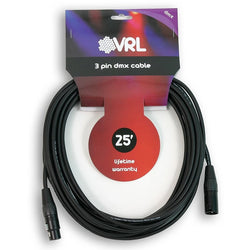 VRL VRLDMX3P25 3 Pin DMX Cable 25'