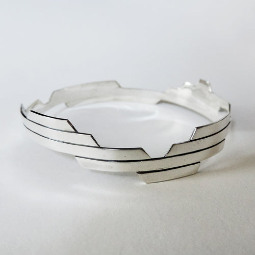 Modern Deco Sterling Silver Bangle