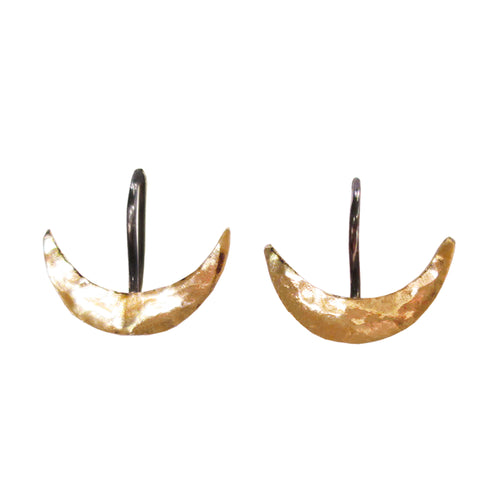 Gold Wave I Crescent Dangle Earrings