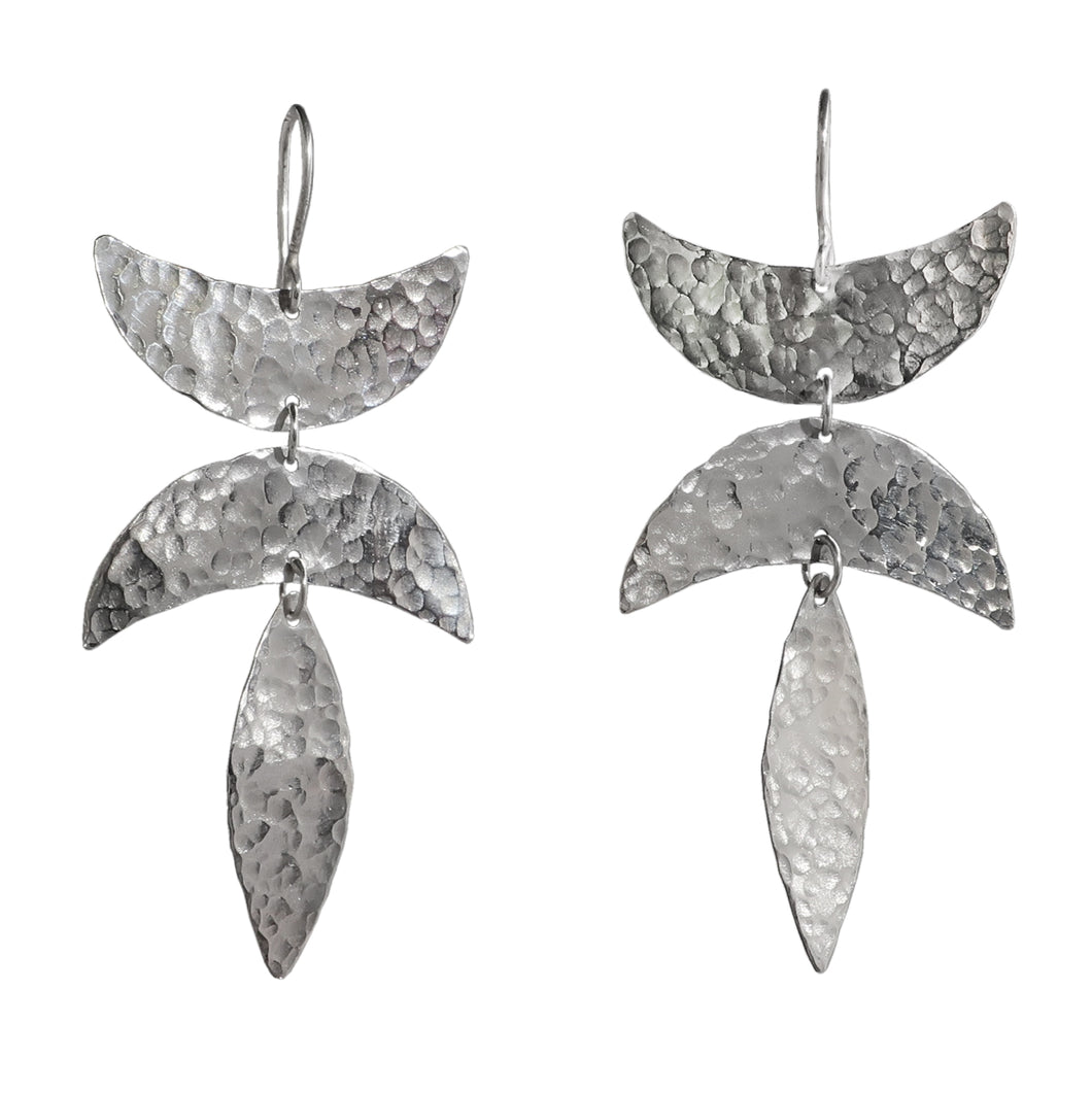 Sterling silver textured three drop earring