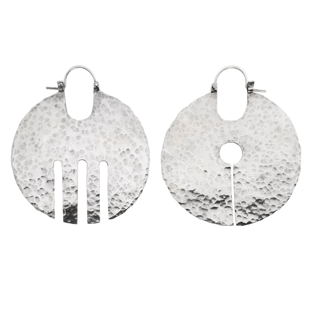 Sterling silver mismatched disc hoops