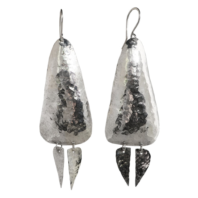 Sterling silver hammered organic earrings