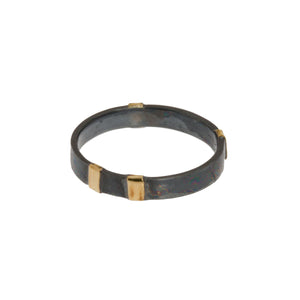 Modern Oxidized Ring with Gold Wrap Detail