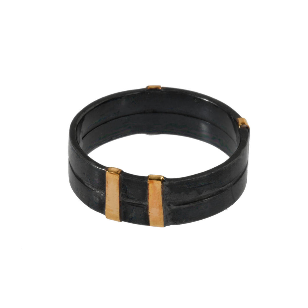 Double Width Oxidized Ring with Gold Wrap Detail