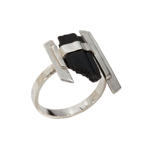 Sterling Silver and Black Tourmaline Ring