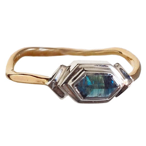 Blue Green Sapphire Ring