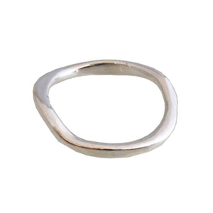 Organic Sterling Silver Band- Thick