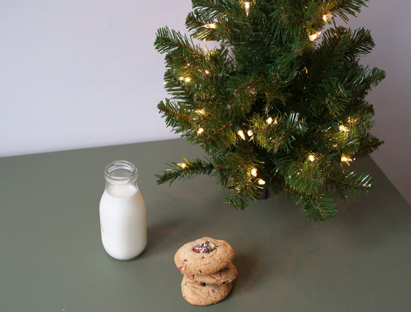 Christmas Sprinkles Pretzel Sugar Cookies With Milk And Christmas Tree