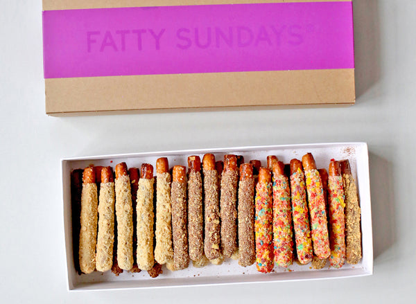 Box of Fatty Sundays Cereal Chocolate Covered Pretzel Rods