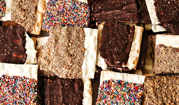 Chocolate covered matzah in assorted flavors