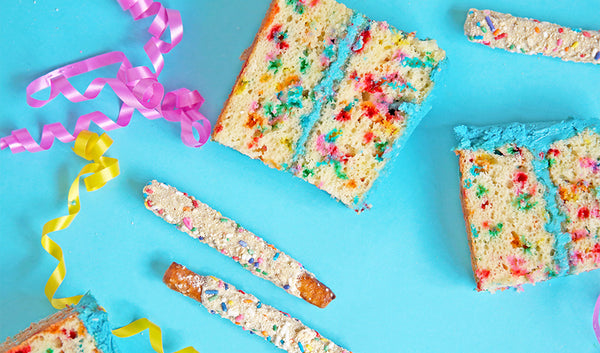 Funfetti birthday cake with birthday cake flavored chocolate covered pretzels