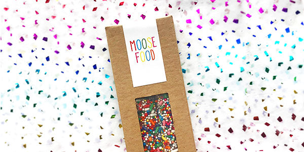 Kraft box of two pretzels with rainbow sprinkles and customized design