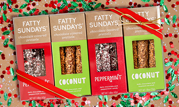 Chocolate covered pretzel Christmas gift set with coconut and peppermint flavored pretzels