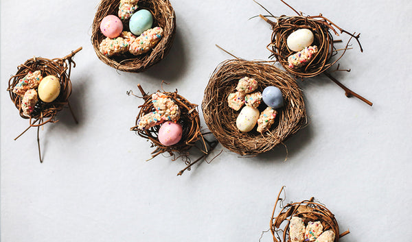 Easter bird nests with chocolate covered pretzel bites and Cadbury eggs