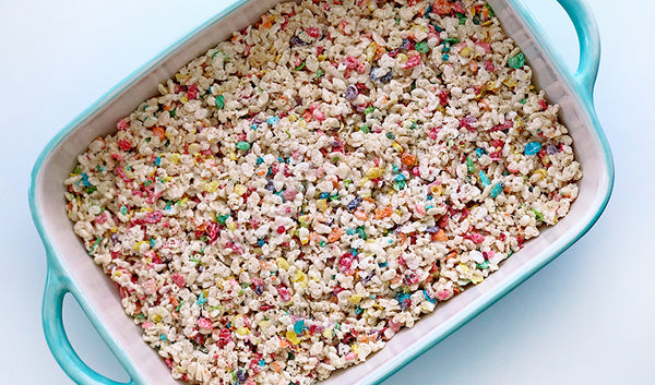 Rice krispies treats with fruity pebbles cereal