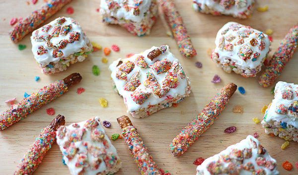 Rice krispies treats with white chocolate and fruity chocolate covered pretzels