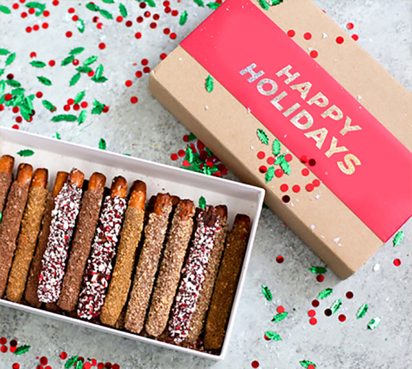 Chocolate covered pretzel holiday gift box with twenty pretzels in assorted flavors