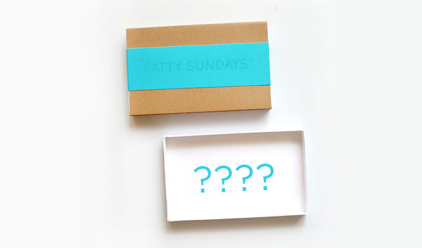 Blue and kraft gift box with blank inside