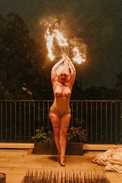 Naughty Los Angeles Marie Antoinette Party Topless Fire Performer