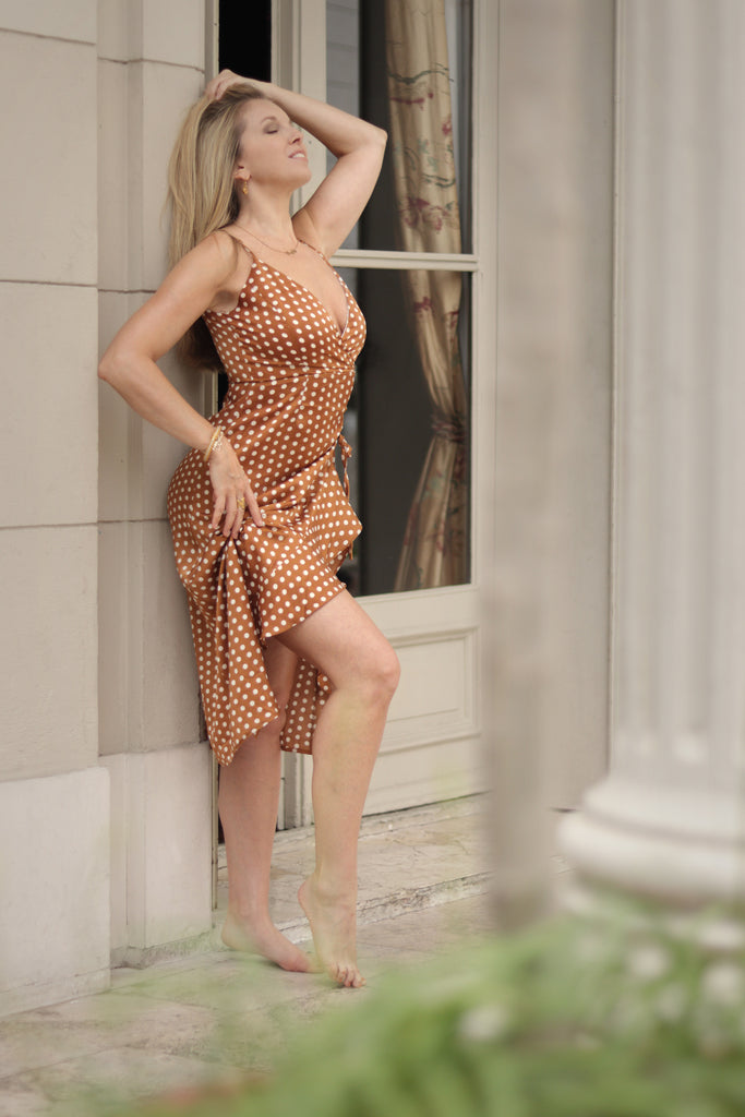 Sexy Polka Dot Tan Ruffle Dress