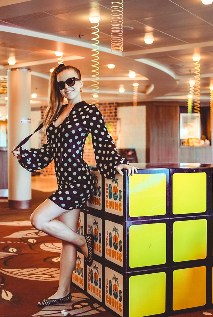 Naughty Girl Sienna Sinclaire 80s Cruise Polka Dot Dress