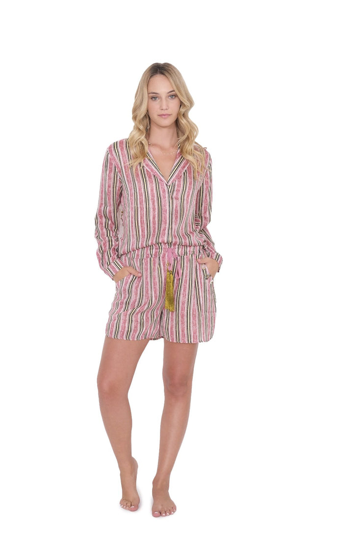 Pink Striped Pajama Top