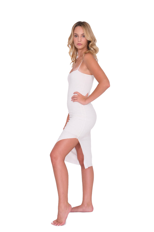 White Tank Dress with Side Slit