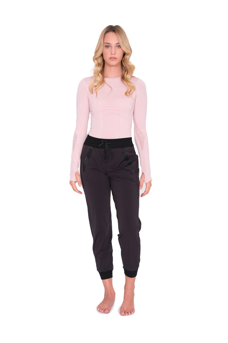 Long Sleeve Top with Mesh Detail Pink