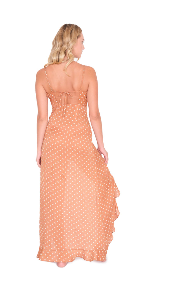 Polka Dot Ruffle Maxi Dress