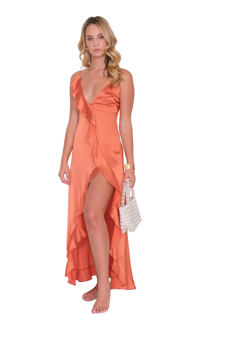 Orange Ruffle Maxi Dress