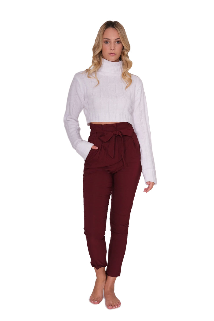 Fitted Pleated Waist Pant with Tie