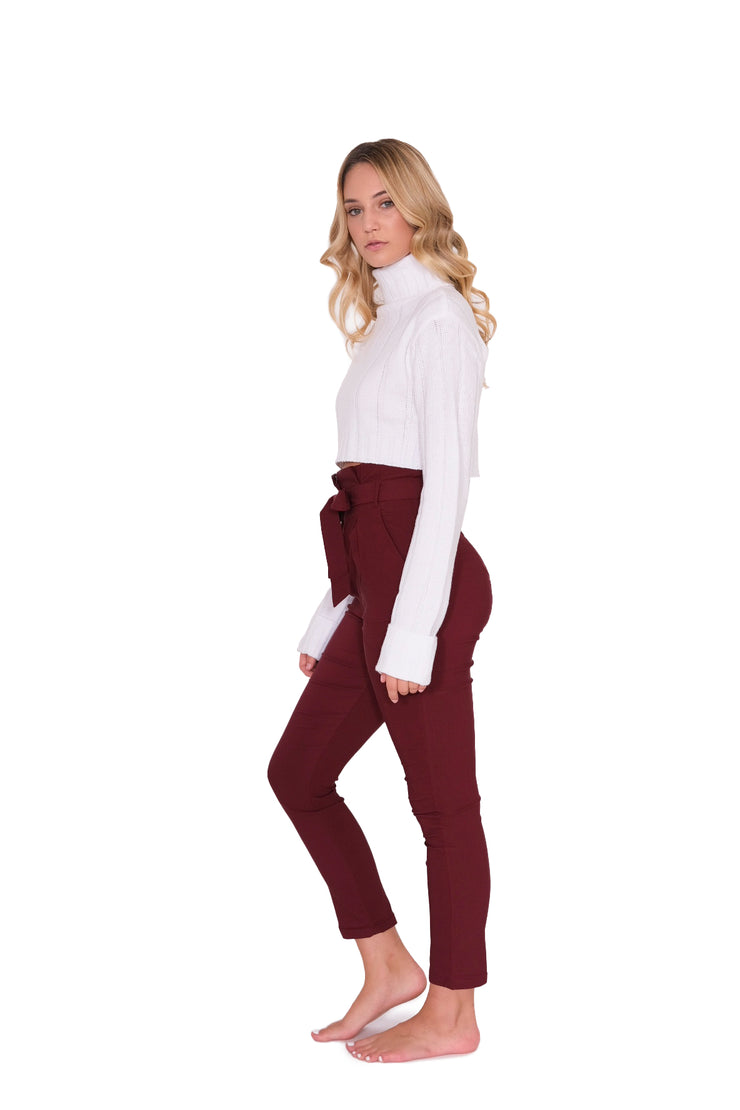 Fitted Pleated Waist Pant with Tie Maroon