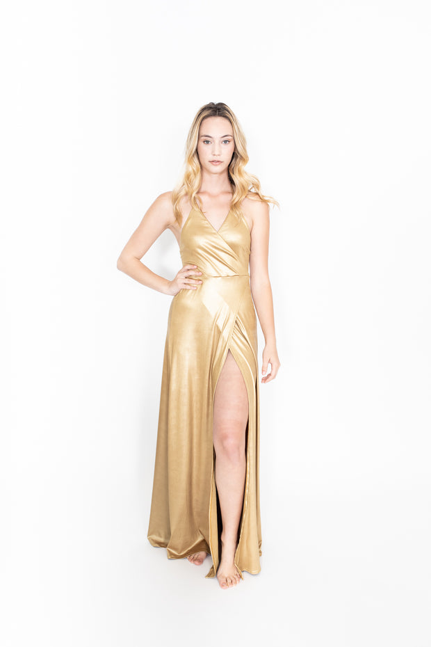 Gold Halter Wrap Dress with Side Slit