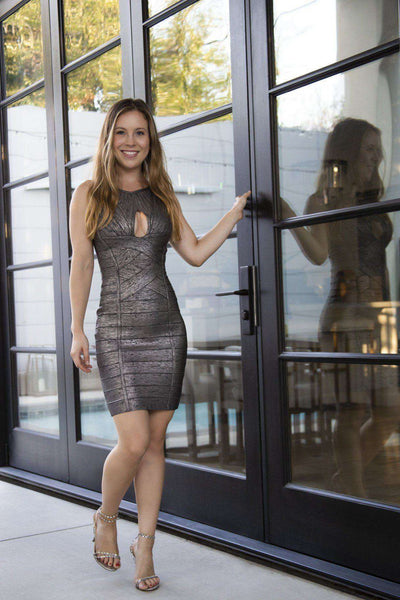 Grey Shimmer Bandage Short Dress