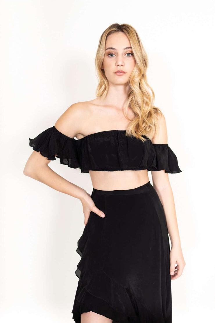 Ruffle Black Silk Skirt