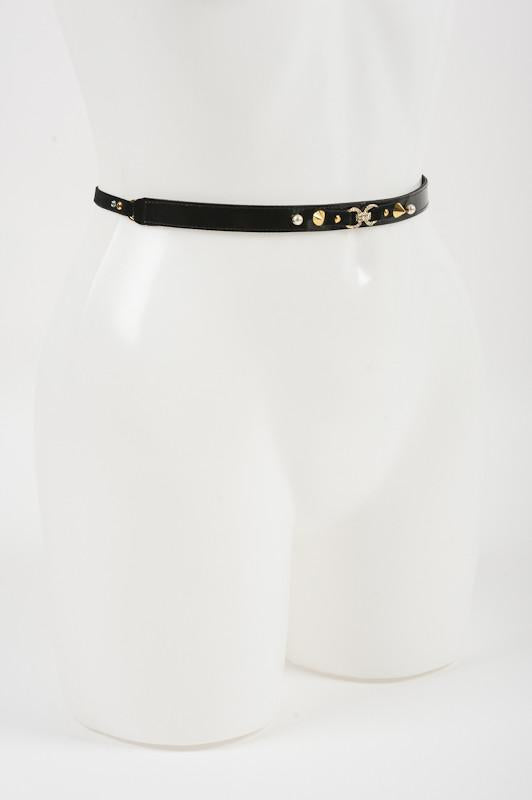 Black Studded Skinny Belt