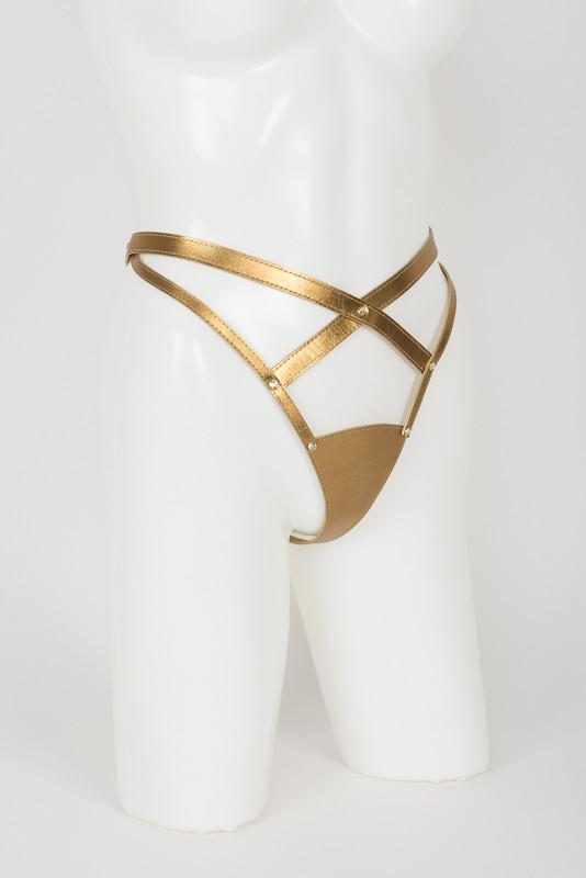 Gold Thong with Swarovski Crystals