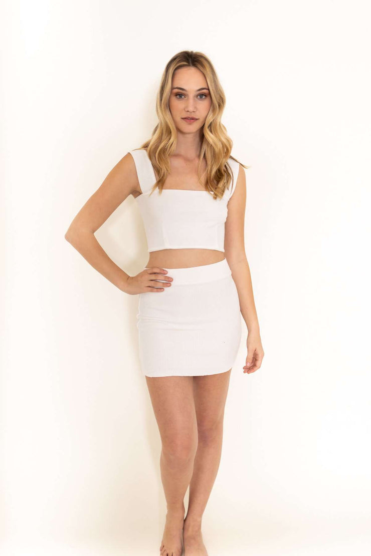 White Ribbed Mini Skirt